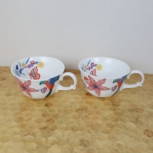 Anthro Bird, floral, butterfly Print Teacup set